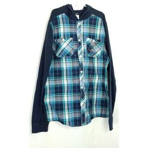 Guess Kids Boys Hooded Buttoned Plaid Shirt